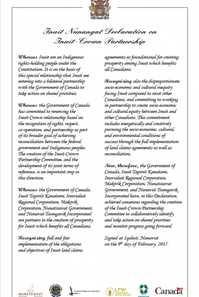 Inuit Nunangat Agreement