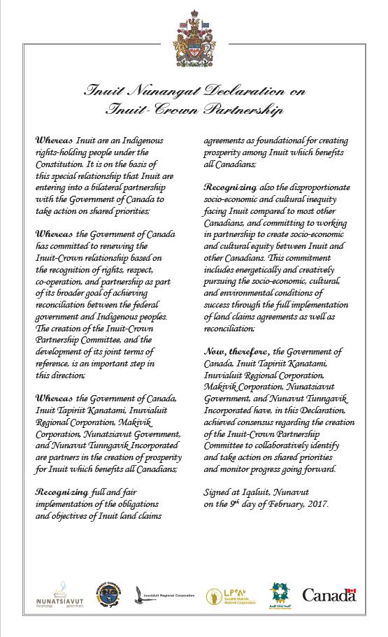 Inuit Nunangat Declaration on Inuit-Crown Partnership